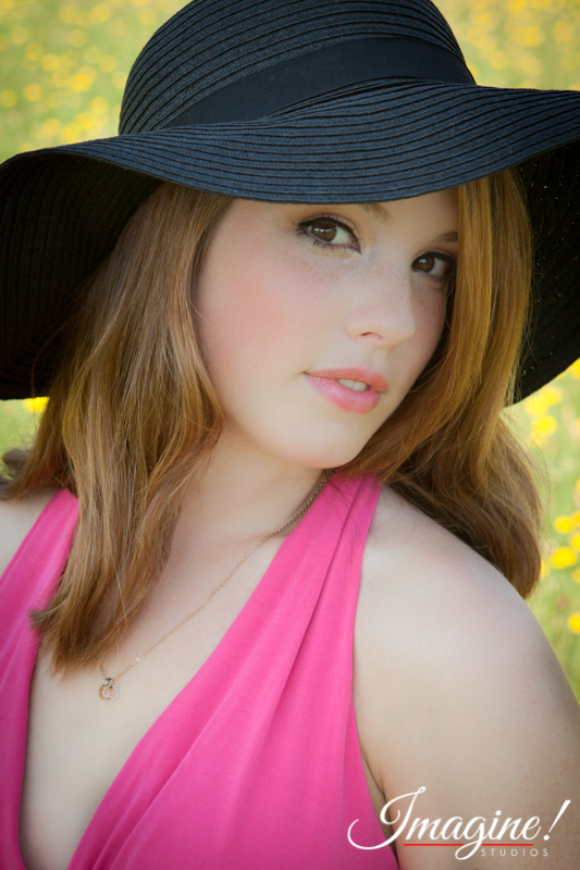 Bethany during her senior model outdoor photo session in a wildflower field in Greer, SC