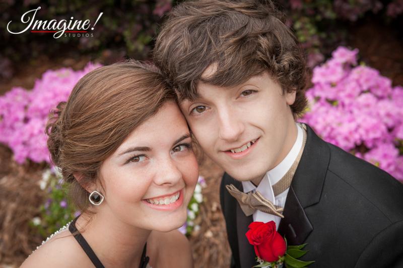 Jacob and Savannah pose for a nice closeup among the flowers near the Furman University lake